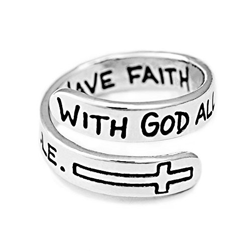 "3/16"" With God All Things Are Possible, Have Faith Matthew 19:26 Sterling Silver Adjustable Wrap Ring"