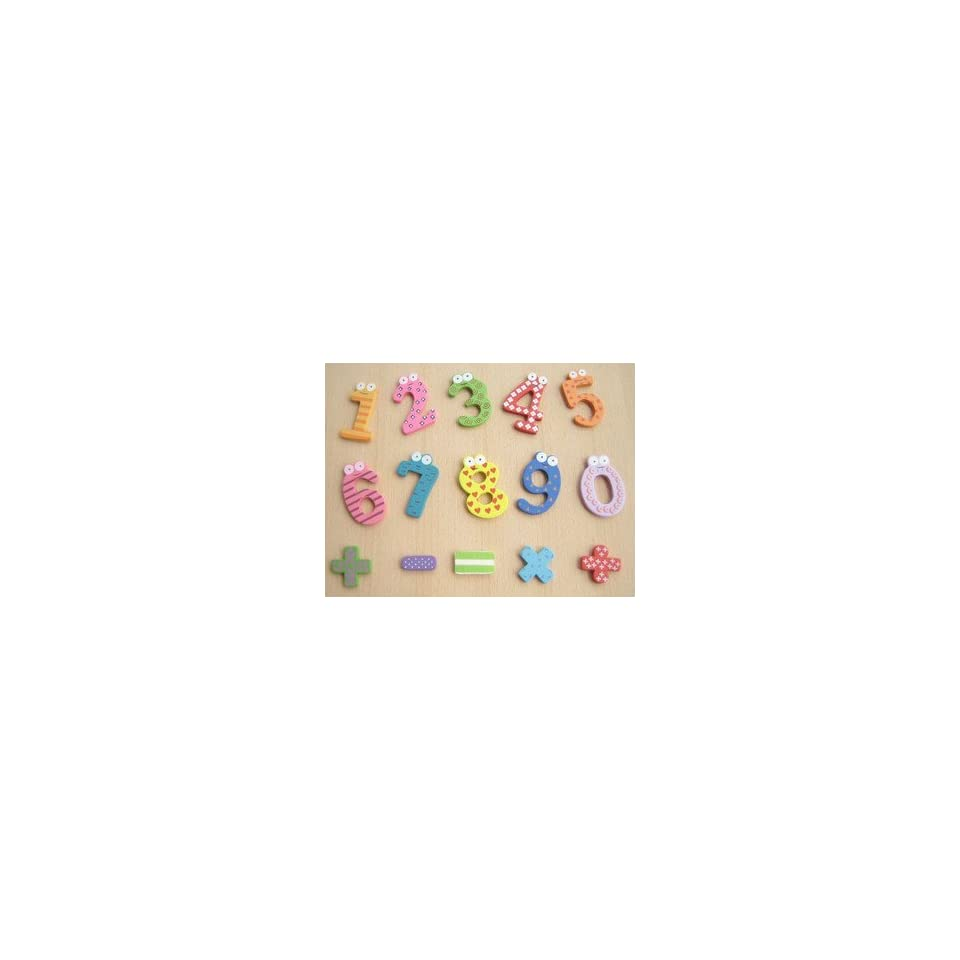 Childrens Creative Gifts Toys / Wooden Magnetic Stickers / 10 Wooden numbers and operators Fridge Magnets