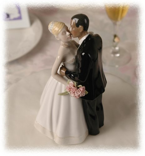 Porcelain Interracial Bi-racial Ethnic Wedding Cake Topper Blond Caucasian White Bride African American Black (Blonde Groom)