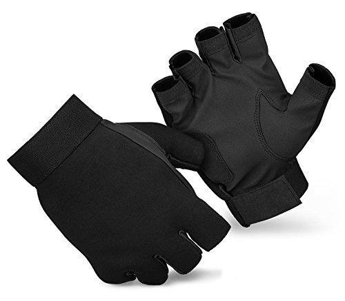Fingerlose Neoprenhandschuhe mit Handinnenflächen aus Synthetikleder Schwarz XL