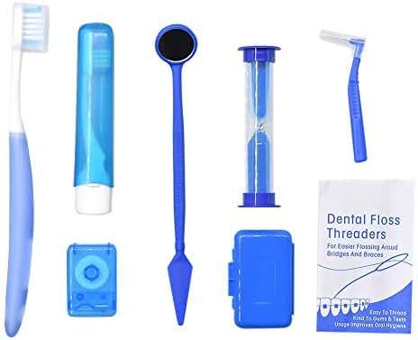 Angzhili Portable Orthodontic Toothbrush Kit for Orthodontic Patient Orthodontic Care Kit for Braces Interdental Brush Dental Wax Dental Floss Toothbrush Box Oral Care Kit Dental Travel Kit(Blue)