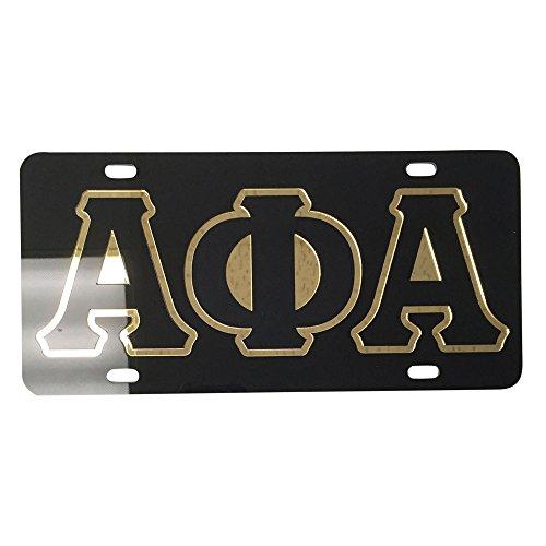 #2205 Alpha Phi Alpha License Plate Car Tag - Black Back, Letter Outlined
