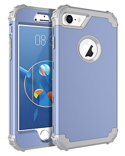 BENTOBEN Phone Case for iPhone 8/iPhone 7,3 in 1 Shockproof Heavy Duty High Impact Resistant Hybrid Hard PC Soft Silicone Cover Full Body Protective Case for iPhone 7/8, Coral Blue