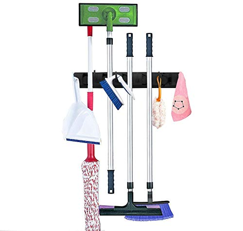 Melvado Broom and Mop Wall Mount Storage Holder Organizer - Hooks for Mops, Brooms, Sports Equipment, Garage Tools - 6 Non-Slip Slots and Extra Hanging Hooks - 35 Pound Capacity -