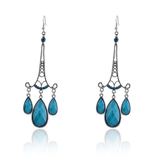 Lureme Teardrop Turquoise Resin Blue Crystal Silver Tone Chandelier Drop Earrings for Women 02002111-1