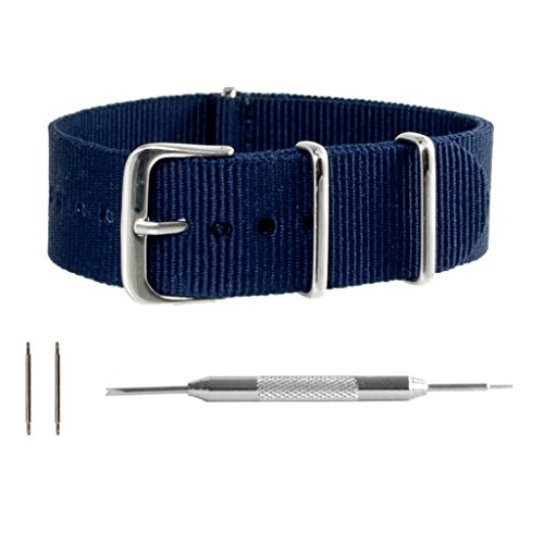 11f199ce6f6 Benchmark Straps 18mm Navy Ballistic Nylon NATO Watchband + Spring Bar  Removal Tool