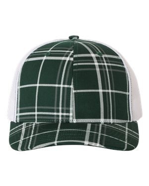 (Richardson Patterned Snapback Trucker Cap, Plaid Print Dark Green/Charcoal/White, Adjustable)