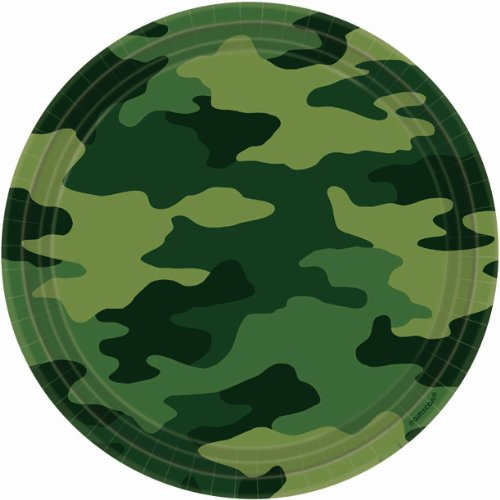 Adventurous Camouflage Lunch Plates Birthday Party Disposable Tableware and Dishware Supplies, 9