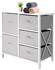 SortWise 5 Drawer Dresser Organizer Fabric Storage Chest with Sturdy Steel Frame, Wood Top, for Bedroom, Hallway, Entryway, Closets, Nursery, Dorm Room