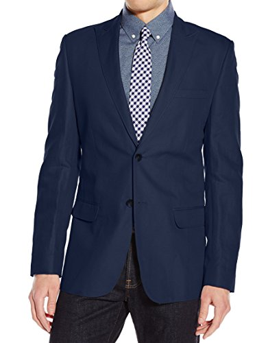 Calvin Klein Men's Slim Fit Linen Herringbone Jacket, Majestic Navy, (Linen Blend Three Button Jacket)