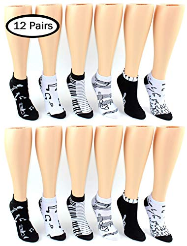 Women's Low Cut Novelty Socks - Music - 12 Pair -