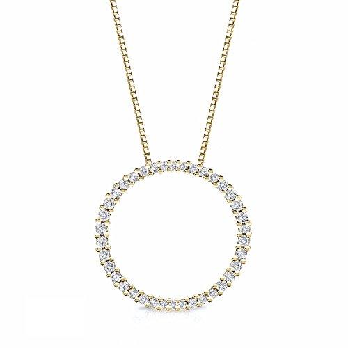 Diamond Wish 14k Yellow Gold Diamond Circle of Life Eternity Pendant (1/2cttw, H-I, I1-I2) 18-inch Box - 18k Diamond White Necklace Eternity Gold