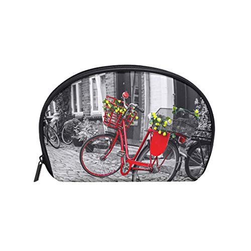 Makeup Bag Street Red Bicycle Retro Vintage Cosmetic Pouch Clutch