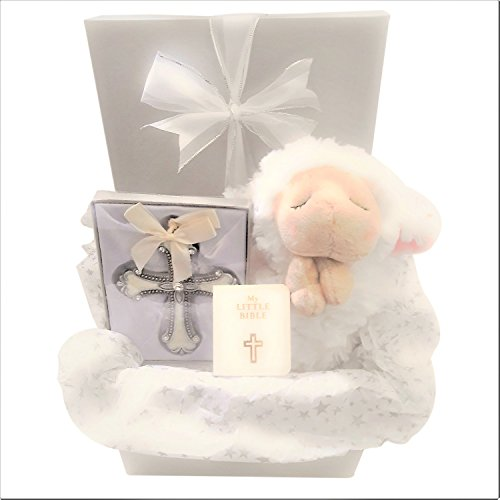 Baby Christening Baptism Gift Set for Boy Or Girl. Includes Ganz Praying Lamb, Crib Cross and Prayer Card. Comes Beautifully Wrapped in Silver Gift Box with Bow