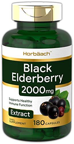 Horbaach Black Elderberry | 2000mg | 180 Capsules
