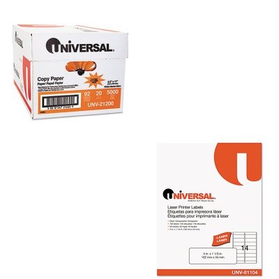 KITUNV21200UNV81104 - Value Kit - Universal Laser Printer Permanent Labels (UNV81104) and Universal Copy Paper (UNV21200)