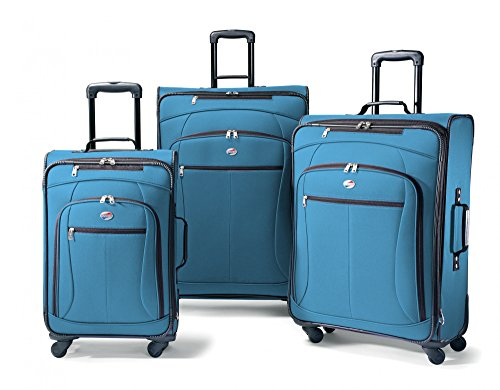 3 Wheeled Piece Luggage Set (American Tourister Luggage AT Pop 3 Piece Spinner Set (One Size, Moroccan Blue))