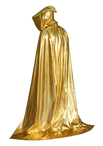 Beautifulfashionlife Hooded Cloak Role Cape Adult Play Costume Shining Gold 130cm -