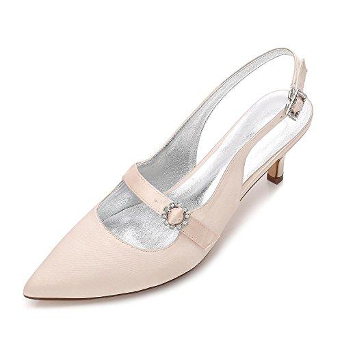 L@YC Damen Damen High Heel Low Mid Kätzchen Plattform Blume Hochzeit Braut Prom Abendschuhe Größe 99634-12 Champagne