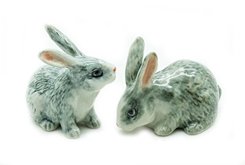 (Animal Miniature Handmade Porcelain Statue 2 Grey Gray Rabbit Figurine Collectibles Gift)