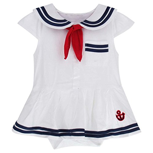Cute Sailor Girl Costumes (A&J Design Baby Girls' Toddler Sailor Costume Outfit Dress Bodysuit (18-24 Months, White))