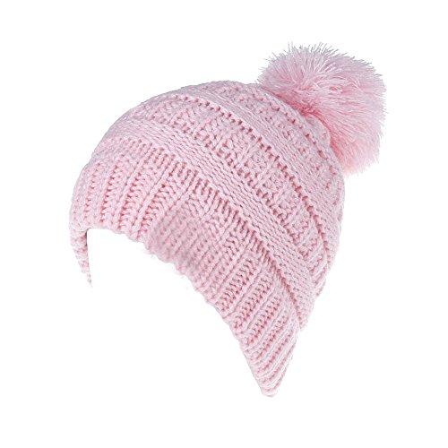 Hat Pattern Knitting Earflap - MIOIM Unisex Toddler Baby Boys Girls Winter Warm Wool Knitting Hat Pompom Bobble Ski Cap Beanies