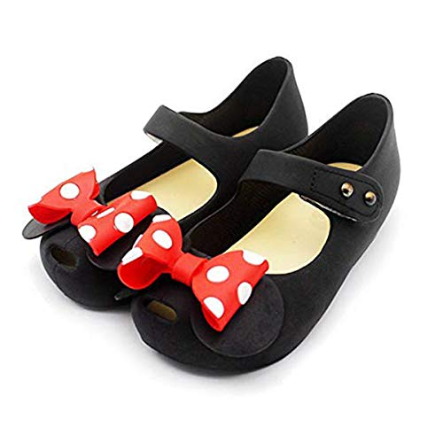 Girls Sweet Mary Jane Flat Princess Sandals Jelly Shoes Toddler Kids Bow Tie with Dots Holiday Christmas