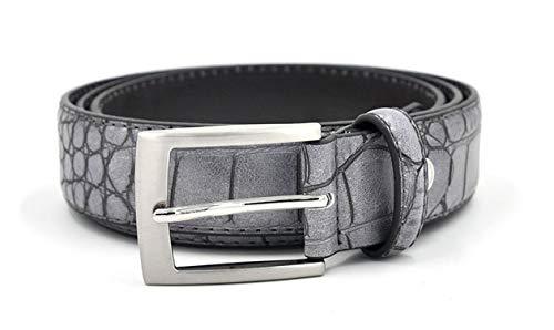 Mens Waist Belts Faux Crocodile Pattern Belts With Split Leather Crocodile Belt Men Belts,Gray,100cm 32to35 Inch