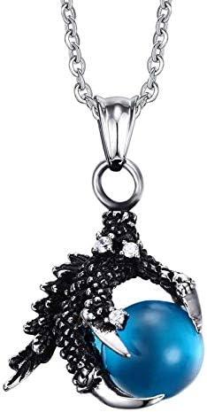 Anhänger Halskette Edelstahl Drachenklaue Anhänger Halten Imitieren Steinperlen Halsketten Vintage Gothic Men Schmuck