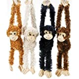"Plush Hanging Monkeys - Size 16"" Hand Fingers to Toe . Ships in a set of 4"