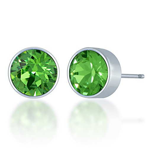 Peridot Swarovski Crystal Ring (Small Stud Earrings with Green Peridot Round Crystals from Swarovski Silver Toned Rhodium Plated)