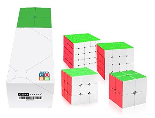 Speed Cube Bundle Set, 2x2, 3x3, 4x4, 5x5 -Magic Puzzle Stickerless Toys - Boys, Girls, Adults