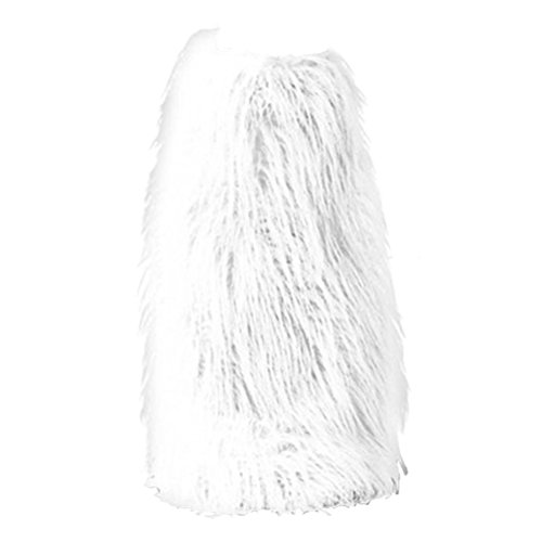Fluffy and Fuzzy Solid White Knee High Faux Fur Boot Covers -