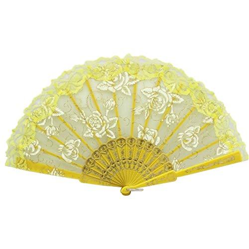 Rose Flower - Lace Side Rose Flower Dance Folding Fan Yellow - Women Charm Petals Popsocket Pot Girl Seed Galaxy Cup Desk