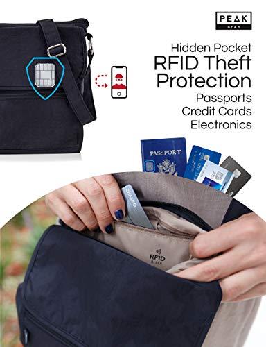 Travel Crossbody Purse - Hidden RFID Pocket - Includes Lifetime Lost & Found ID