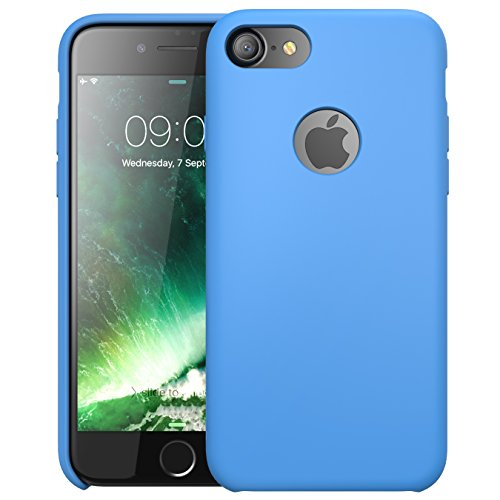 iPhone 7 Case, i-Blason Silicone [Flexible] [Shock Absorbing] Case for Apple iPhone 7 (Blue)) - Soft Touch Microfiber Jacket