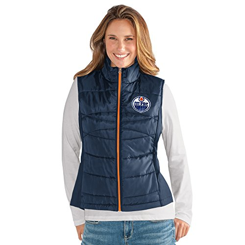 - GIII For Her NHL Edmonton Oilers Women's Wing Back Vest, Small, Navy