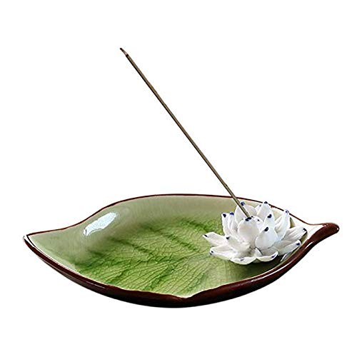(Corciosy Censer Ceramic Handmade Artistic Incense Holder Burner Stick Coil Lotus Ash Catcher Buddhist Water Lily Plate Single Hole Round (07))