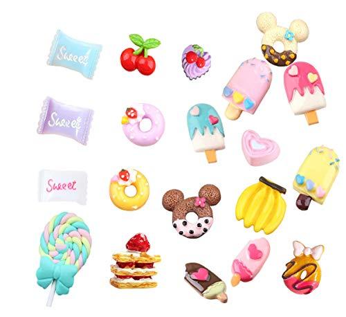 - Mlambor 20 pcs 3D Slime Charm Slices Resin Flatback Dessert Beads Button Cake Ice Cream Sweets Donut Cherry Banana Chocolate Lollipop for DIY Scrapbooking Embellishment, Phonecase, Hair Clip, Jewelry