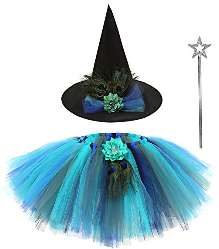 (AQTOPS Peacock Fluffy Tutu Skirts for Little Girls Running Short)