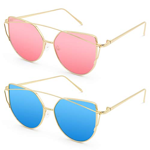 Livhò Sunglasses for Women, Cat Eye Mirrored + Transparent Flat Lenses Metal Frame Sunglasses UV400 (Gold Pink + Silver Deep Blue)