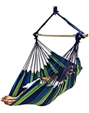 Large Brazilian Hammock Chair Quality Cotton Weave for Superior Comfort & Durability - Extra Long Bed - Hanging Chair for Yard, Bedroom, Porch, Indoor/Outdoor