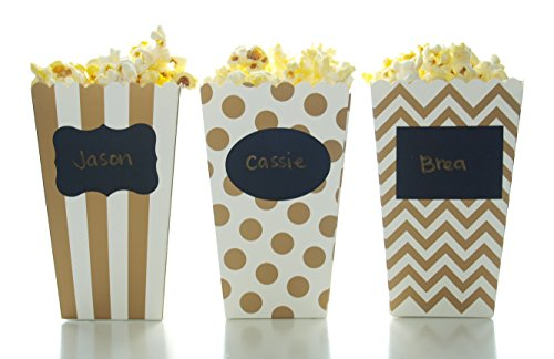 Gold Popcorn Boxes & Black Label Chalkboard Vinyl Stickers (36 Pack) - Open-Top Candy / Treat Favor Boxes, Use Decal Tag to Personalize Party Favors, Mini Popcorn Tubs by Food with Fashion
