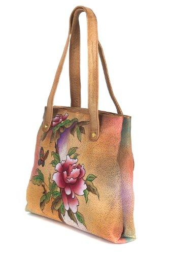 Zimbelmann Damen Schultertasche / Handtasche aus echtem Leder - Nappaleder - handbemalt - Grace