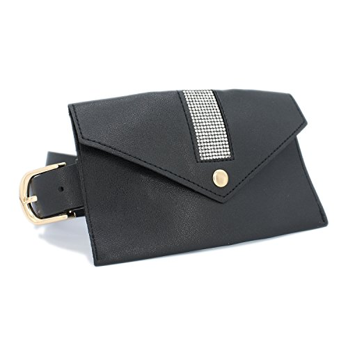 Set of Rhinestone Pouch and D Metal Buckle (BLACK) by LAFSQ