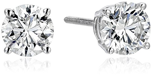 IGI-Certified 18k White Gold Round-Cut Diamond Stud Earrings (1 1/2 cttw, H-I Color, SI1-SI2 Clarity) (Si1 Si2 Earrings)