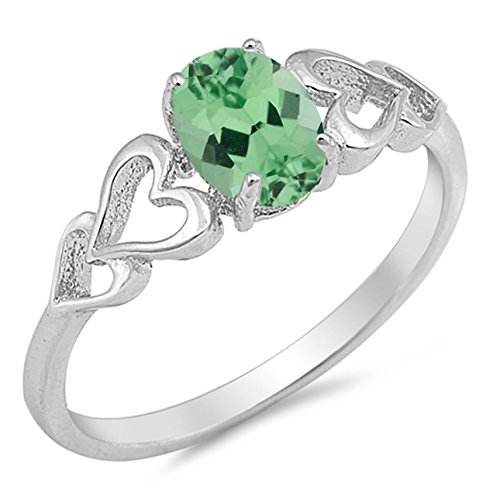 925 Sterling Silver Faceted Natural Genuine Green Emerald Oval Heart Ring Size 6