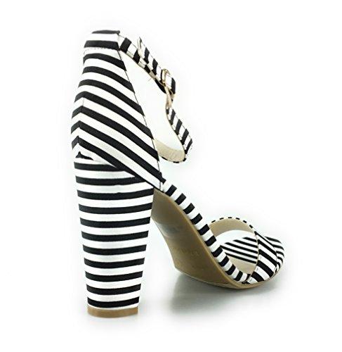 Sandalo Con Cinturino Alla Caviglia A Fascia Singola In Bambù Con Cinturino Alla Caviglia (10, Bianco E Nero)
