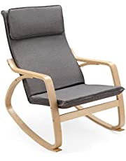 Giantex Rocking Chair with Removable Upholstered Cushion, Stable Wooden Frame Relaxing Modern Leisure Armchair Suitable for Living Room, Bedroom, Balcony, Nursery Room Ergonomic Chair (1, Gray)