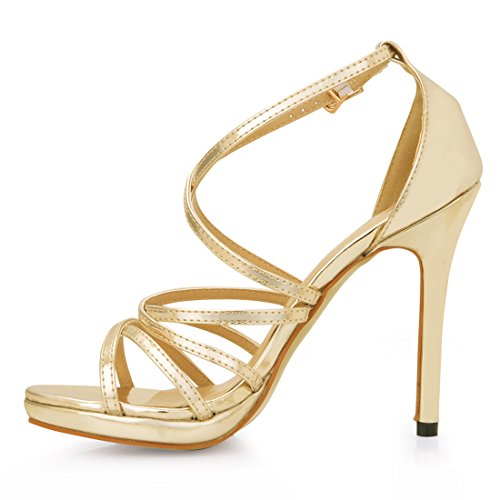 patent Gold Novia Chau para Boda Alto Zapatos Nupcial Plataforma de de Tacon de de CHMILE Tobillo Mujer Fiesta 1cm Vestido Elegantes Correa Aguja Sandalias fBdgwxqqP